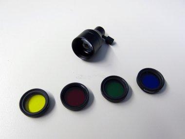 Fokussiervorsatz und Farb-Filterset für Lichtleiter bis zu 6 mm