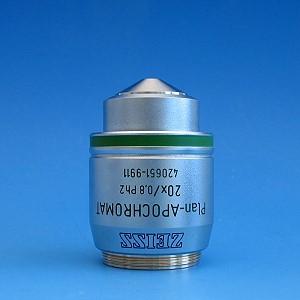 Objektiv Plan-Apochromat 20x/0,8 Ph2 M27 (a=0,55mm), inkl. Deckgläser, hoch präzise, D=0,17mm, Schachtel mit 100 Stück